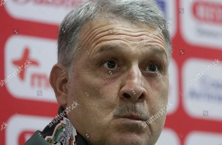 Mexico's national soccer team head coach Gerardo Martino speaks during a press conference, ahead of a soccer match against Panama, at the Rommel Fernandez stadium in Panama City, Thursday, Nov., 14, 2019. Panama and Mexico will face on Friday in a CONCACAF soccer match
