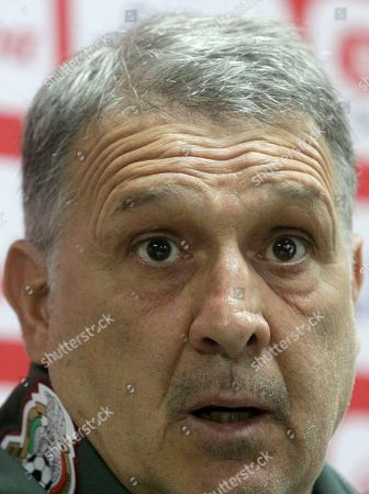 Mexico's national soccer team head coach Gerardo Martino speaks during a press conference, ahead of a soccer match against Panama, at the Rommel Fernandez stadium in Panama City, Thursday, Nov., 14, 2019. Panama and Mexico will face each other on Friday in a CONCACAF soccer match