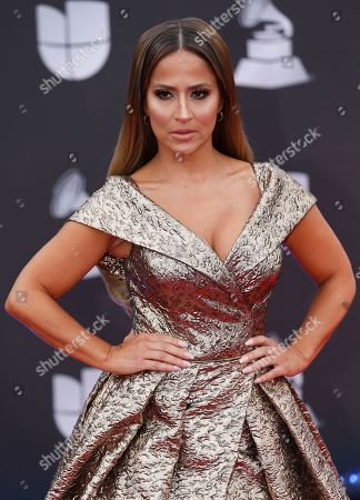 Jackie Guerrido arrives at the 20th Latin Grammy Awards, at the MGM Grand Garden Arena in Las Vegas