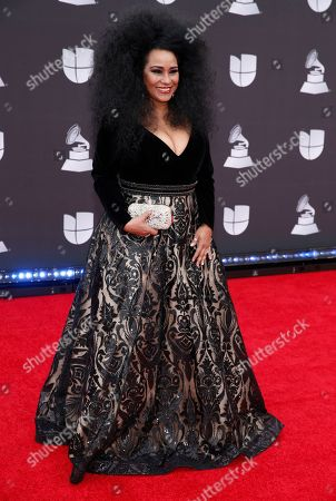Aymee Nuviola arrives at the 20th Latin Grammy Awards, at the MGM Grand Garden Arena in Las Vegas