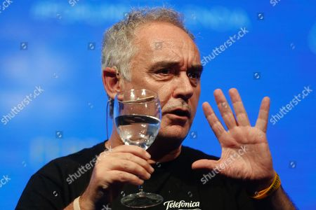 Spanish chef Ferran Adria makes a presentation about his approach to innovation in relation to efficiency, at the 'Forum of Excellence', in Buenos Aires, Argentina, 14 November 2019. Adria, who is focused on new innovation projects, defended the legacy of his restaurant El Bulli, of which he considered that 80 per cent of 'the most important chefs in the world are heirs' even after he closed his doors in 2011.