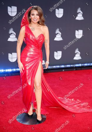 Thalia arrives at the 20th Latin Grammy Awards, at the MGM Grand Garden Arena in Las Vegas