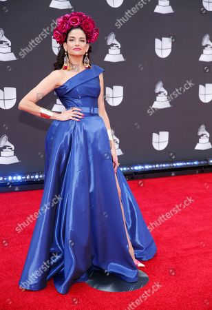 Natalia Jimenez arrives at the 20th Latin Grammy Awards, at the MGM Grand Garden Arena in Las Vegas