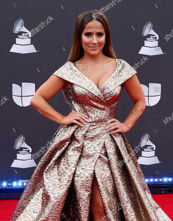 Jackie Guerrido arrives for the 20th annual Latin Grammy Awards ceremony at the MGM Grand Garden Arena in Las Vegas, Nevada, USA, 14 November 2019. The Latin Grammys recognize artistic and/or technical achievement, not sales figures or chart positions, and the winners are determined by the votes of their peers - the qualified voting members of the Latin Recording Academy.