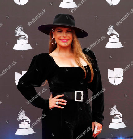 Olga Tanon arrives for the 20th annual Latin Grammy Awards ceremony at the MGM Grand Garden Arena in Las Vegas, Nevada, USA, 14 November 2019. The Latin Grammys recognize artistic and/or technical achievement, not sales figures or chart positions, and the winners are determined by the votes of their peers - the qualified voting members of the Latin Recording Academy.