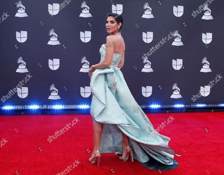 Alejandra Espinoza arrives for the 20th annual Latin Grammy Awards ceremony at the MGM Grand Garden Arena in Las Vegas, Nevada, USA, 14 November 2019. The Latin Grammys recognize artistic and/or technical achievement, not sales figures or chart positions, and the winners are determined by the votes of their peers - the qualified voting members of the Latin Recording Academy.