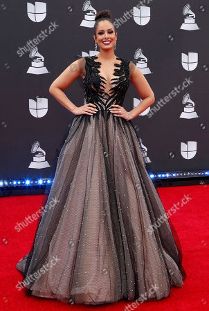 Stock Image of Aleyda Ortiz arrives for the 20th annual Latin Grammy Awards ceremony at the MGM Grand Garden Arena in Las Vegas, Nevada, USA, 14 November 2019. The Latin Grammys recognize artistic and/or technical achievement, not sales figures or chart positions, and the winners are determined by the votes of their peers - the qualified voting members of the Latin Recording Academy.