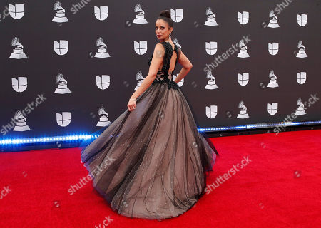 Stock Picture of Aleyda Ortiz arrives for the 20th annual Latin Grammy Awards ceremony at the MGM Grand Garden Arena in Las Vegas, Nevada, USA, 14 November 2019. The Latin Grammys recognize artistic and/or technical achievement, not sales figures or chart positions, and the winners are determined by the votes of their peers - the qualified voting members of the Latin Recording Academy.