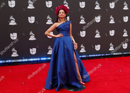 Natalia Jimenez arrives for the 20th annual Latin Grammy Awards ceremony at the MGM Grand Garden Arena in Las Vegas, Nevada, USA, 14 November 2019. The Latin Grammys recognize artistic and/or technical achievement, not sales figures or chart positions, and the winners are determined by the votes of their peers - the qualified voting members of the Latin Recording Academy.