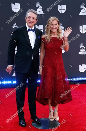 Gabriel Abaroa Jr., (L) and Deborah Dugan arrive for the 20th annual Latin Grammy Awards ceremony at the MGM Grand Garden Arena in Las Vegas, Nevada, USA, 14 November 2019. The Latin Grammys recognize artistic and/or technical achievement, not sales figures or chart positions, and the winners are determined by the votes of their peers - the qualified voting members of the Latin Recording Academy.