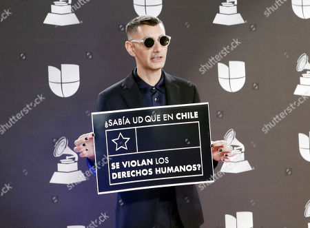 Stock Image of Alex Anwandter arrives for the 20th annual Latin Grammy Awards ceremony at the MGM Grand Garden Arena in Las Vegas, Nevada, USA, 14 November 2019. The Latin Grammys recognize artistic and/or technical achievement, not sales figures or chart positions, and the winners are determined by the votes of their peers - the qualified voting members of the Latin Recording Academy.