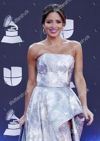 American-Peruvian journalist Pamela Silva Conde arrives for the 20th annual Latin Grammy Awards ceremony at the MGM Grand Garden Arena in Las Vegas, Nevada, USA, 14 November 2019. The Latin Grammys recognize artistic and/or technical achievement, not sales figures or chart positions, and the winners are determined by the votes of their peers - the qualified voting members of the Latin Recording Academy.