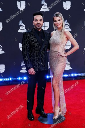 Puerto Rican singer Luis Fonsi (L) and Spanish model Agueda Lopez (R) arrive for the 20th annual Latin Grammy Awards ceremony at the MGM Grand Garden Arena in Las Vegas, Nevada, USA, 14 November 2019. The Latin Grammys recognize artistic and/or technical achievement, not sales figures or chart positions, and the winners are determined by the votes of their peers - the qualified voting members of the Latin Recording Academy.