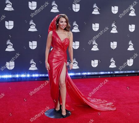 Thalia arrives for the 20th annual Latin Grammy Awards ceremony at the MGM Grand Garden Arena in Las Vegas, Nevada, USA, 14 November 2019. The Latin Grammys recognize artistic and/or technical achievement, not sales figures or chart positions, and the winners are determined by the votes of their peers - the qualified voting members of the Latin Recording Academy.