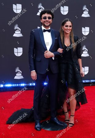 Andres Cepeda (L) and guest arrive for the 20th annual Latin Grammy Awards ceremony at the MGM Grand Garden Arena in Las Vegas, Nevada, USA, 14 November 2019. The Latin Grammys recognize artistic and/or technical achievement, not sales figures or chart positions, and the winners are determined by the votes of their peers - the qualified voting members of the Latin Recording Academy.