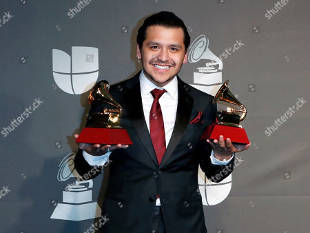 Christian Nodal poses with the Best Ranchero/Mariachi Album and Best Regional Song awards in the press room during the 20th annual Latin Grammy Awards ceremony at the MGM Grand Garden Arena in Las Vegas, Nevada, USA, 14 November 2019. The Latin Grammys recognize artistic and/or technical achievement, not sales figures or chart positions, and the winners are determined by the votes of their peers - the qualified voting members of the Latin Recording Academy.