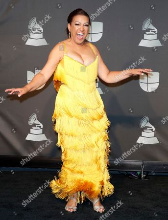 Performer Milly Quezada poses in the press room during the 20th annual Latin Grammy Awards ceremony at the MGM Grand Garden Arena in Las Vegas, Nevada, USA, 14 November 2019. The Latin Grammys recognize artistic and/or technical achievement, not sales figures or chart positions, and the winners are determined by the votes of their peers - the qualified voting members of the Latin Recording Academy.