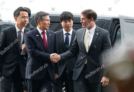 US Secretary of Defense Mark Esper (R) and South Korean Minister of National Defense Jeong Kyeong-doo (2-L) speak on arrival at the Ministry of National Defense in Seoul, South Korea, 15 November 2019. US Secretary of Defense Mark Esper arrived in Seoul to hold the 51st Security Consultative Meeting (SCM).
