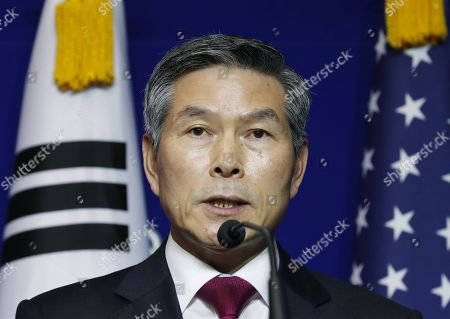 South Korean Minister of National Defense Jeong Kyeong-doo speaks with US Secretary of Defense Mark Esper (not pictured) hold a press conference after their meeting at the Ministry of National Defense in Seoul, South Korea, 15 November 2019. US Secretary of Defense Mark Esper arrived in Seoul to hold the 51st Security Consultative Meeting (SCM).