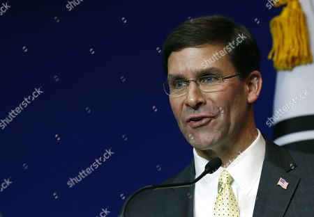 US Secretary of Defense Mark Esper and South Korean Minister of National Defense Jeong Kyeong-doo (not pictured) hold a press conference after their meeting at the Ministry of National Defense in Seoul, South Korea, 15 November 2019. US Secretary of Defense Mark Esper arrived in Seoul to hold the 51st Security Consultative Meeting (SCM).