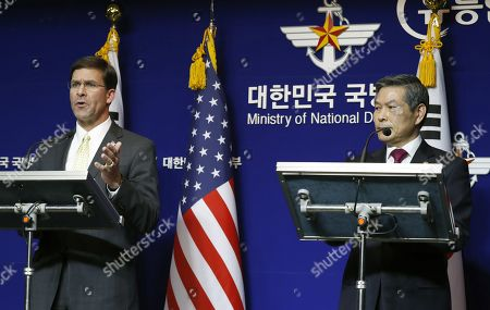 US Secretary of Defense Mark Esper (L) and South Korean Minister of National Defense Jeong Kyeong-doo (R) speak during a press conference after their meeting at the Ministry of National Defense in Seoul, South Korea, 15 November 2019. US Secretary of Defense Mark Esper arrived in Seoul to hold the 51st Security Consultative Meeting (SCM).
