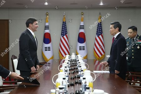 US Secretary of Defense Mark Esper (L) and South Korean Minister of National Defense Jeong Kyeong-doo (R) speak during a meeting at the Ministry of National Defense in Seoul, South Korea, 15 November 2019. US Secretary of Defense Mark Esper arrived in Seoul to hold the 51st Security Consultative Meeting (SCM).