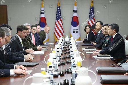 US Secretary of Defense Mark Esper (4-L) and South Korean Minister of National Defense Jeong Kyeong-doo (R) speak during a meeting at the Ministry of National Defense in Seoul, South Korea, 15 November 2019. US Secretary of Defense Mark Esper arrived in Seoul to hold the 51st Security Consultative Meeting (SCM).
