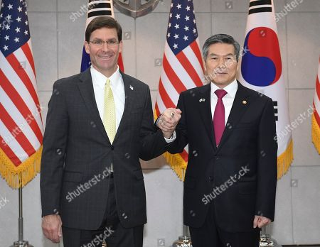 US Secretary of Defense Mark Esper (C, left) and South Korean Minister of National Defense Jeong Kyeong-doo (C, right) pose for photos during a meeting at the Ministry of National Defense in Seoul, South Korea, 15 November 2019. US Secretary of Defense Mark Esper arrived in Seoul to hold the 51st Security Consultative Meeting (SCM).