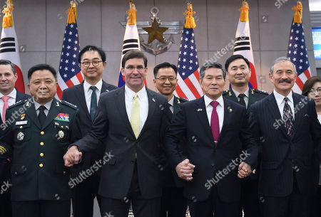 US Secretary of Defense Mark Esper (4-L) and South Korean Minister of National Defense Jeong Kyeong-doo (4-R) pose for photos during a meeting at the Ministry of National Defense in Seoul, South Korea, 15 November 2019. US Secretary of Defense Mark Esper arrived in Seoul to hold the 51st Security Consultative Meeting (SCM).