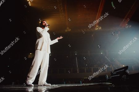 Stock Image of Marco Mengoni performs during his 'Atlantico' tour.