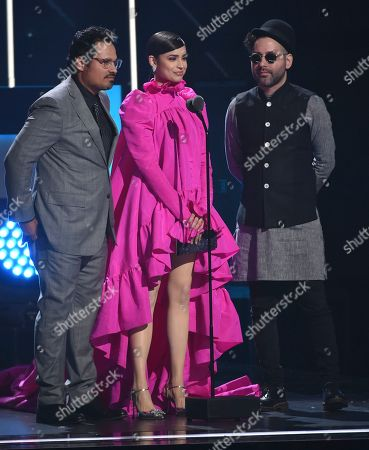 Michael Pena, Sofia Carson, Eduardo Cabra. Michael Pena, from left, Sofia Carson and Eduardo Cabra present the award for song of the year at the 20th Latin Grammy Awards, at the MGM Grand Garden Arena in Las Vegas