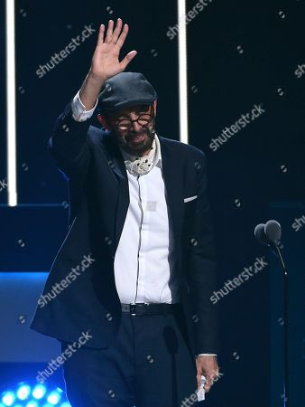 "Stock Picture of Juan Luis Guerra accepts the award for best contemporary/tropical fusion album for ""Literal"" at the 20th Latin Grammy Awards, at the MGM Grand Garden Arena in Las Vegas"