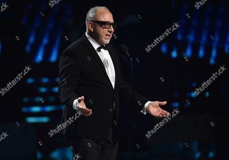 Emilio Estefan presents the president's award to Thalia at the 20th Latin Grammy Awards, at the MGM Grand Garden Arena in Las Vegas