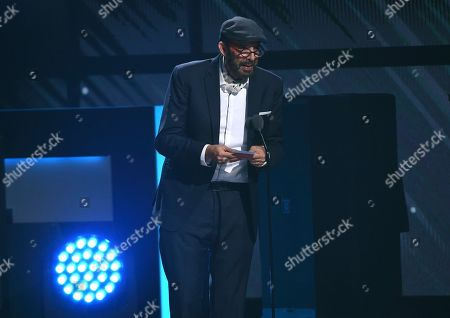 "Stock Photo of Juan Luis Guerra accepts the award for best contemporary/tropical fusion album for ""Literal"" at the 20th Latin Grammy Awards, at the MGM Grand Garden Arena in Las Vegas"