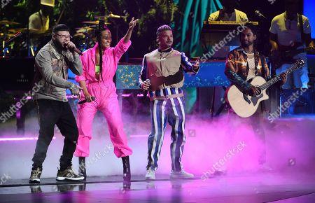 Farruko, Alicia Keys, Pedro Capo, Miguel. Farruko, from left, Alicia Keys, Pedro Capo and Miguel perform a medley at the 20th Latin Grammy Awards, at the MGM Grand Garden Arena in Las Vegas