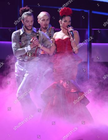 Natalia Jimenez performs at the 20th Latin Grammy Awards, at the MGM Grand Garden Arena in Las Vegas