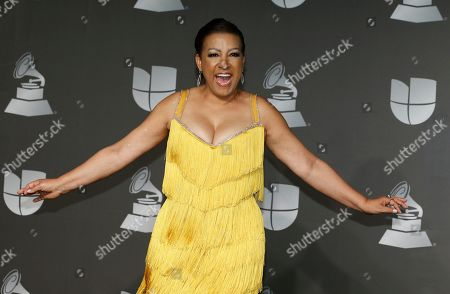 Milly Quezada poses in the press room at the 20th Latin Grammy Awards, at the MGM Grand Garden Arena in Las Vegas