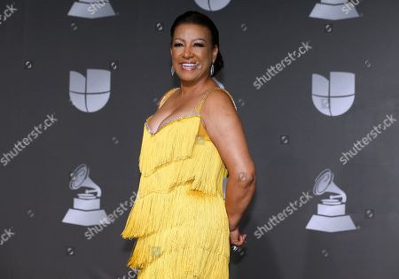 Stock Image of Milly Quezada poses in the press room at the 20th Latin Grammy Awards, at the MGM Grand Garden Arena in Las Vegas