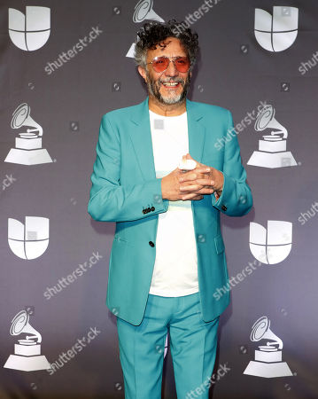 Performer Fito Paez poses in the press room during the 20th annual Latin Grammy Awards ceremony at the MGM Grand Garden Arena in Las Vegas, Nevada, USA, 14 November 2019. The Latin Grammys recognize artistic and/or technical achievement, not sales figures or chart positions, and the winners are determined by the votes of their peers - the qualified voting members of the Latin Recording Academy.