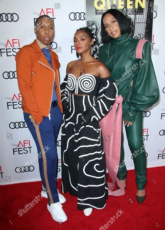 Stock Picture of Lena Waithe, Janelle Monae and Melina Matsoukas