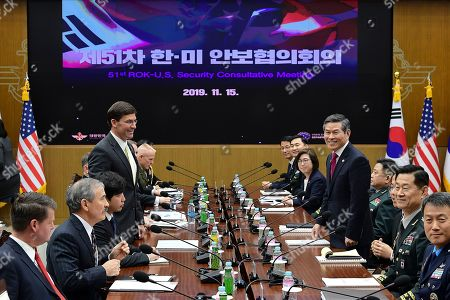 US Defense Secretary Mark Esper (L) speaks with South Korean Defense Minister Jeong Kyeong-doo (R) during the 51st Security Consultative Meeting (SCM) at Defense Ministry in Seoul, South Korea, 15 November 2019. The Pentagon chief visits South Korea as a part of his tour in Asia-Pacific regions.