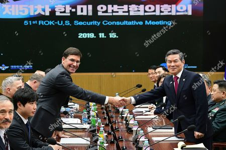 US Defense Secretary Mark Esper (L) shakes hands with South Korean Defense Minister Jeong Kyeong-doo (R) during the 51st Security Consultative Meeting (SCM) at Defense Ministry in Seoul, South Korea, 15 November 2019. The Pentagon chief visits South Korea as a part of his tour in Asia-Pacific regions.