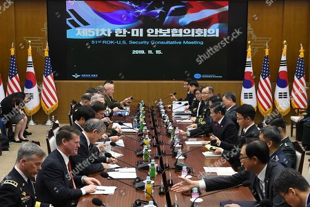 US Defense Secretary Mark Esper meets with South Korean Defense Minister Jeong Kyeong-doo during the 51st Security Consultative Meeting (SCM) at Defense Ministry in Seoul, South Korea, 15 November 2019. The Pentagon chief visits South Korea as a part of his tour in Asia-Pacific regions.