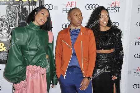 """Stock Image of Melina Matsoukas, Lena Waithe, Shiona Turini. Melina Matsoukas, from left, Lena Waithe and Shiona Turini attend 2019 AFI Fest opening night premiere of """"Queen and Slim"""", in Los Angeles"""