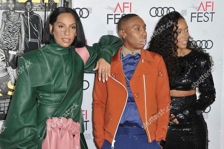 "Stock Photo of Melina Matsoukas, Lena Waithe, Shiona Turini. Melina Matsoukas, from left, Lena Waithe and Shiona Turini attend 2019 AFI Fest opening night premiere of ""Queen and Slim"", in Los Angeles"