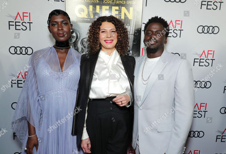 Jodie Turner-Smith, Donna Langley, Chairman, Universal Filmed Entertainment Group, and Daniel Kaluuya attend the QUEEN & SLIM World Premiere Gala Screening at AFI FEST 2019 in Hollywood, CA on Thursday, November 14, 2019.
