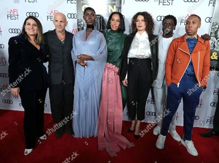 Pamela Abdy, Producer, Brad Weston, Producer, Jodie Turner-Smith, Melina Matsoukas, Director/Producer, Donna Langley, Chairman, Universal Filmed Entertainment Group, Daniel Kaluuya and Lena Waithe, Writer/Producer, attend the QUEEN & SLIM World Premiere Gala Screening at AFI FEST 2019 in Hollywood, CA on Thursday, November 14, 2019.