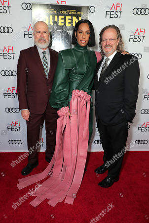 Stock Picture of Michael Lumpkin, Director of AFI, Melina Matsoukas, Director/Producer, and Bob Gazzale, President & CEO of AFI, attend the QUEEN & SLIM World Premiere Gala Screening at AFI FEST 2019 in Hollywood, CA on Thursday, November 14, 2019.