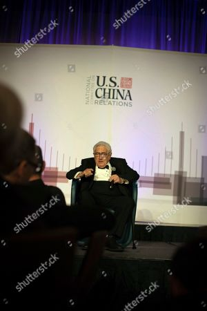 Former U.S. Secretary of State Henry Kissinger gives a speech at an annual dinner for the National Committee on U.S. China Relations, in New York