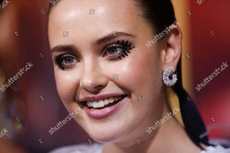 Katherine Langford poses on the red carpet during the premiere of the movie 'Knives Out' at the Regency Village Theatre in Los Angeles, California, USA, 14 November 2019. The movie is set tp be released in US theaters on 27 November.